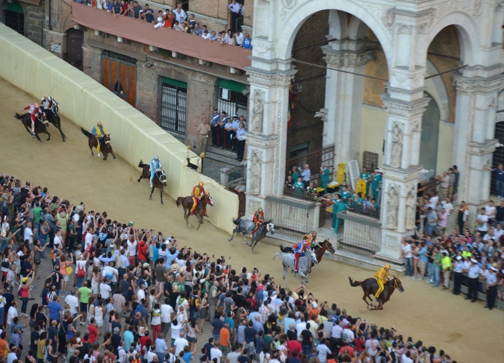 Horses racing in the Palio di Siena