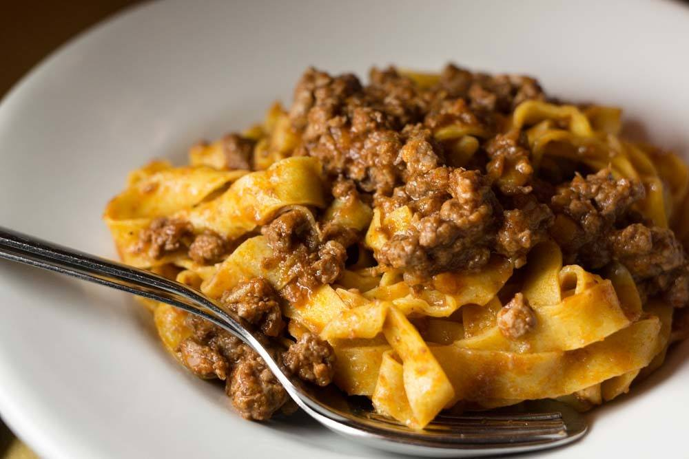Bolognese sauce is to be eaten with tagliatelle pasta in Bologna