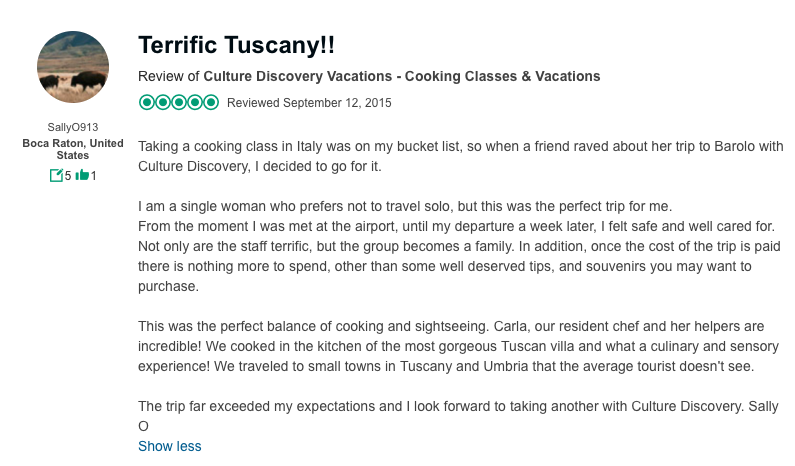 A solo traveler reviews our tuscan vacations