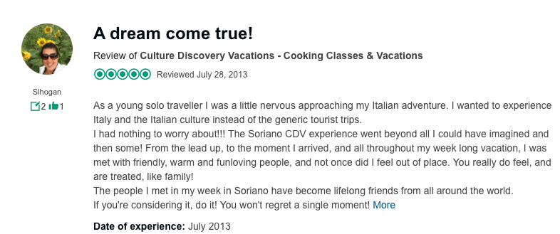 A trip advisor review of our cooking and wine vacations in Italy