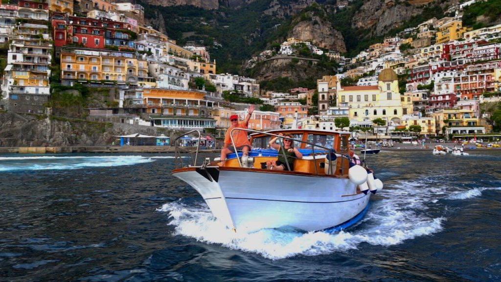 We take a private to and from Positano on our cooking and wine vacations